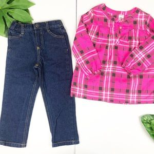 Carter's Plaid Longsleeves Top with denim Pants